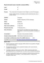 Read information texts in familiar contexts (ESOL)