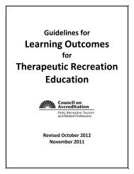Learning Outcomes Therapeutic Recreation Education - National ...