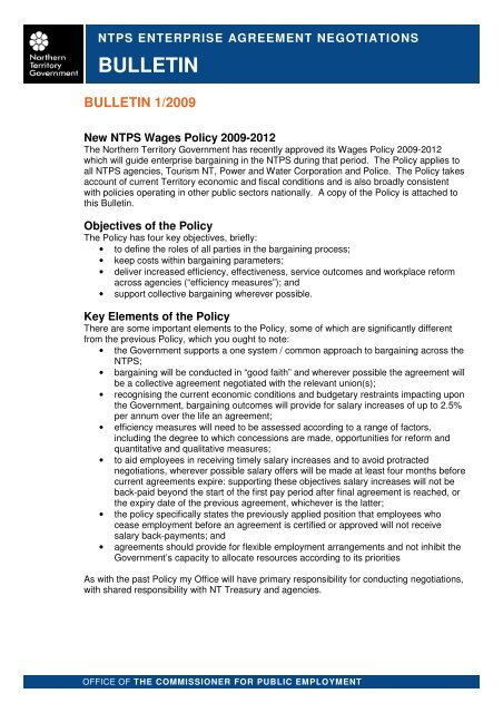 Bulletin Enterprise Agreement Negotiations Northern Territory