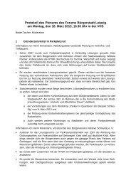 Protokoll des Plenums des Forums Bürgerstadt Leipzig am Montag ...