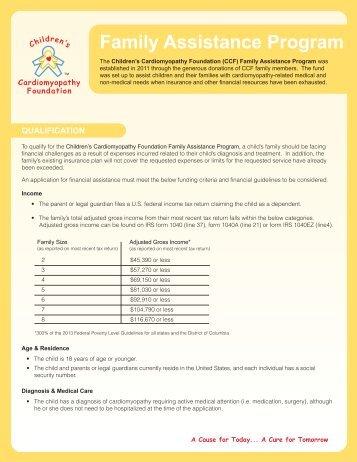 Family Assistance Program - Children's Cardiomyopathy Foundation