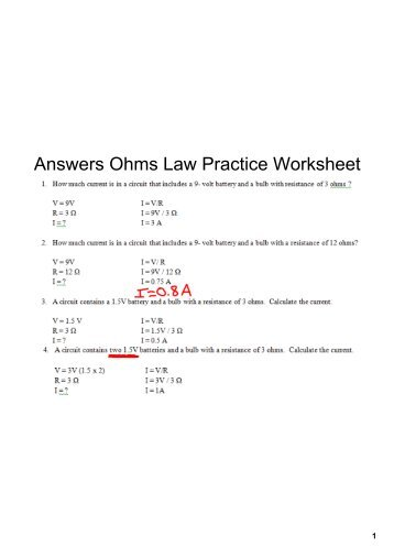 Ohms Law Worksheet | Worksheet