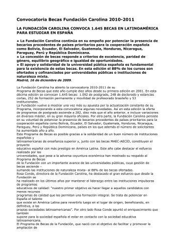 Convocatoria Becas Fundación Carolina 2010-2011