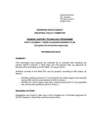 european space agency industrial policy committee ... - emits - ESA