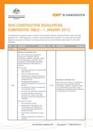 WHS construction regulations comparative table - Comcare
