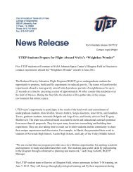 """UTEP Students Prepare for Flight Aboard NASA's """"Weightless ..."""