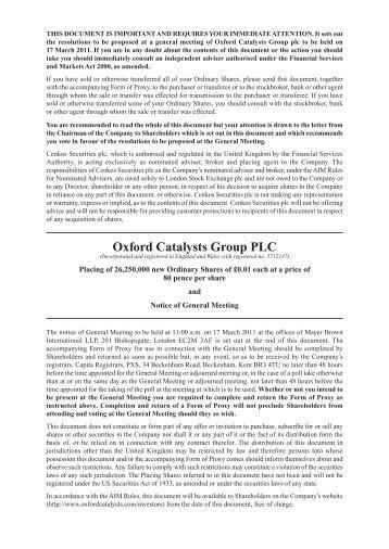 Placing Circular 25-Feb-2011 - Oxford Catalysts Group