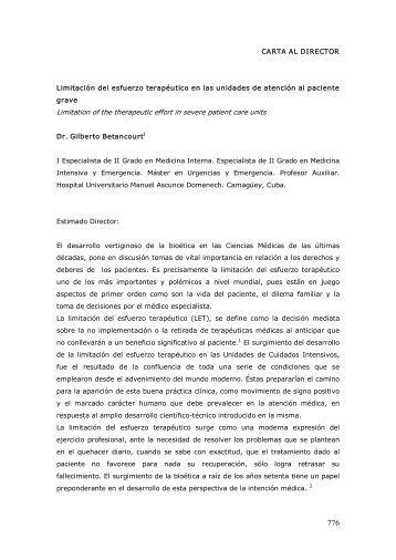 CARTA AL DIRECTOR Limitación del esfuerzo terapéutico ... - SciELO