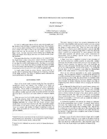 BASIC SQldD MECHANICS FOR TACTILE SENSING ABSTRACT ...