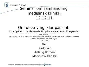 Utskrivingsklar pasient - Sykehuset Telemark