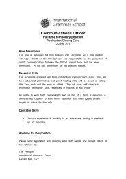 Communications Officer - International Grammar School