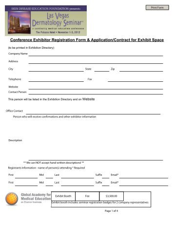 Conference Exhibitor Registration Form & Application/Contract for ...