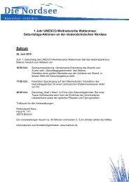 1 Jahr UNESCO-Weltnaturerbe Wattenmeer Geburtstags-Aktionen ...