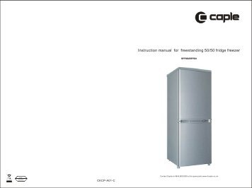 Instruction manual for freestanding 50/50 fridge freezer - Caple
