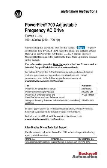 PowerFlex 700 Installation Instructions - Frames 7…10