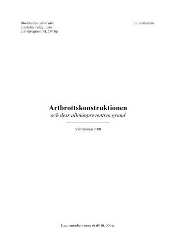 Artbrottskonstruktionen - Juridicum - Stockholms universitet