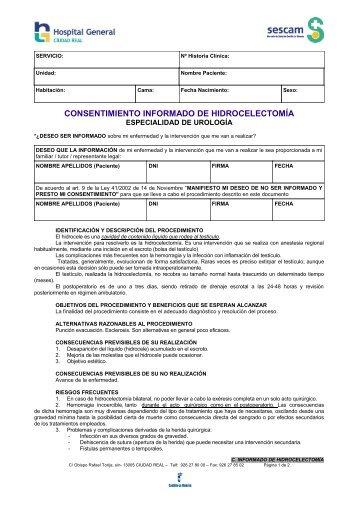 CONSENTIMIENTO INFORMADO DE HIDROCELECTOMÍA