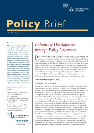Enhancing Development through Policy Coherence - United Nations ...
