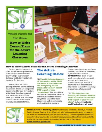 How to Write Lesson Plans for the Active Learning Classroom