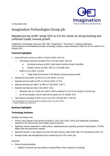 View the full financial results - Imagination Technologies