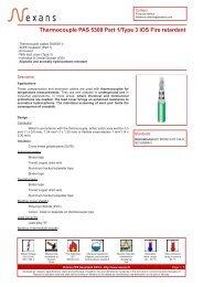 Thermocouple PAS 5308 Part 1/Type 3 IOS Fire retardant - Nexans