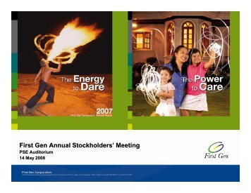 Presentation During Annual Stockholders' Meeting - First Gen