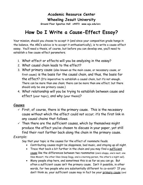 How Do I Write a Cause-Effect Essay? - Wheeling Jesuit