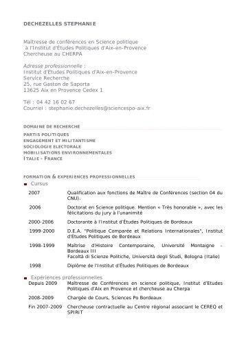 DECHEZELLES STEPHANIE Maîtresse de ... - Sciences Po Aix