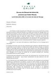 Discours de Édouard de Rothschild, prononcé par ... - France Galop