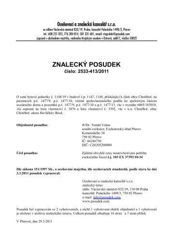 ZNALECKÝ POSUDEK číslo: 2533-413/2011 - OKdrazby.cz