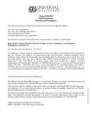 Planes PFFS/PPO East Pennsylvania Directorio de Proveedores ...