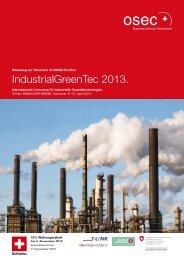 IndustrialGreenTec 2013. - Cleantech Switzerland