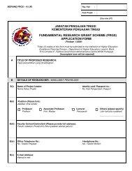 fundamental research grant scheme (frgs) - Jabatan Pengajian ...