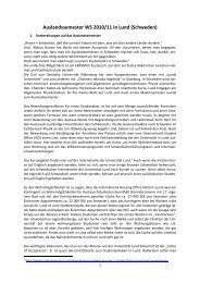 Auslandssemester WS 2010/11 in Lund (Schweden) - Institut für ...