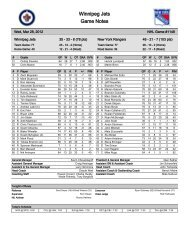 Download complete game notes - New York Rangers