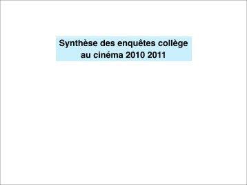 Bilan Collège au cinéma 2011