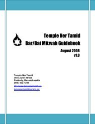 Bar/Bat Mitzvah Guide - Temple Ner Tamid