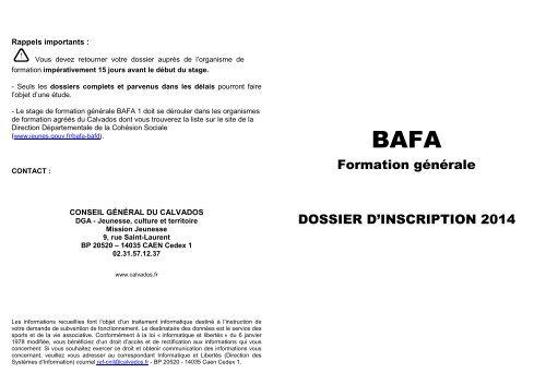 Formulaire demande d'aide BAFA livret - Conseil général du Calvados