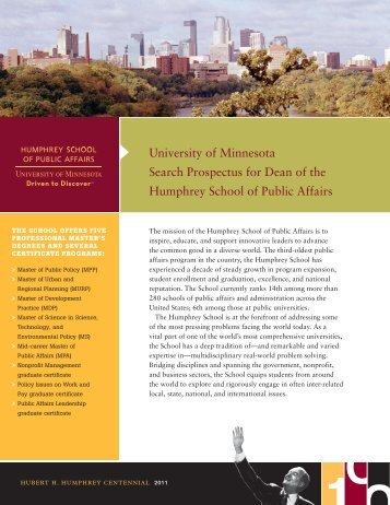 Prospectus - Humphrey School of Public Affairs - University of ...