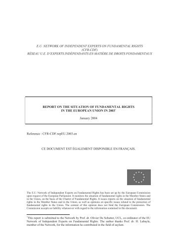eu network of independent experts on fundamental rights (cfr-cdf)