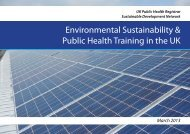 Environmental Sustainability & Public Health Training in the UK