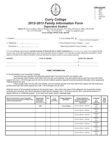 Curry College 2012-2013 Family Information Form