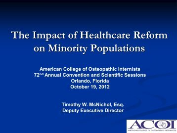 The Impact of Healthcare Reform on Minority Populations