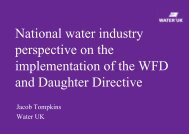 National water industry perspective on the implementation of the ...