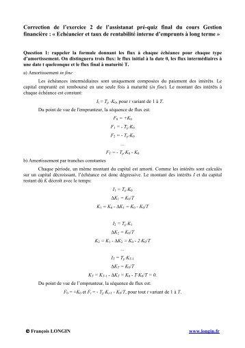 Correction de l'exercice 2 de l'assistanat pré-quiz final du cours ...