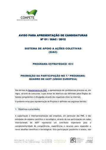 Aviso para Apresentação de Candidaturas N.º 01 - Compete - QREN