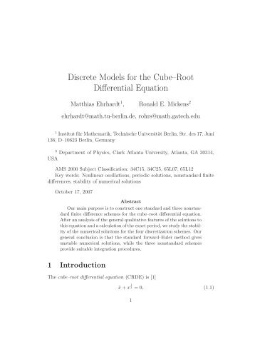 Discrete Models for the Cube–Root Differential Equation