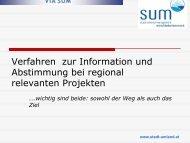 Ziele von VIA SUM - Stadt-Umland Management