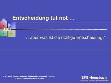 Entscheidung tut not … - EFG Hemsbach