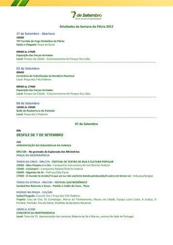 programação completa - Blog do Planalto